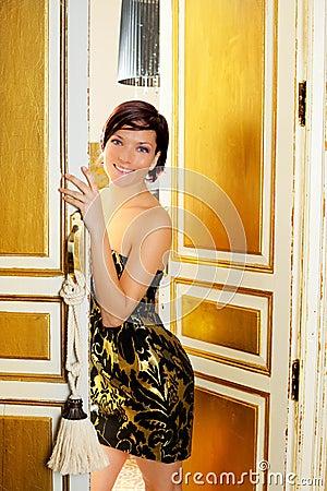 Elegance fashion woman in hotel room door