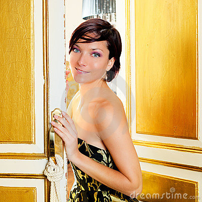 Elegance fashion woman in hotel room door