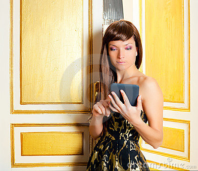 Elegance fashion woman reading ebook
