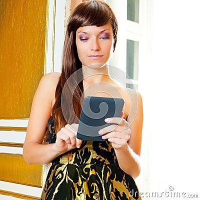 Elegance fashion woman reading ebook tablet