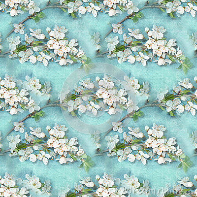 Free Elegance Floral Seamless Pattern. Blossoming Apple-tree Branches. Blooming Tree Texture. Cherry Blossom. Stock Images - 68667634