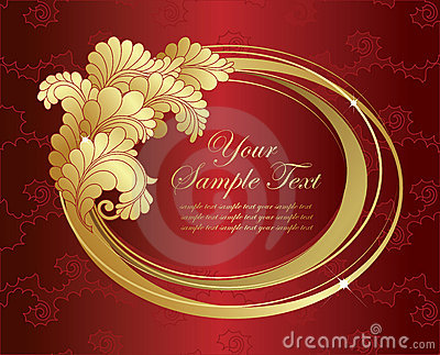 Elegance gold frame on red background