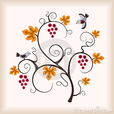 Elegance grape vine with flying bird.