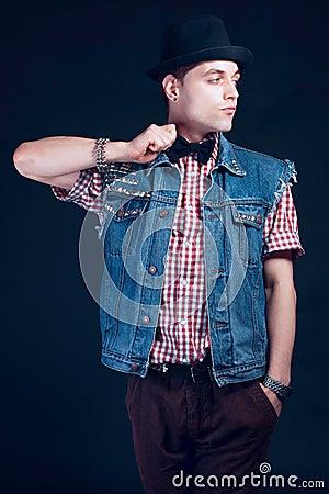 Elegance man in squared shirt