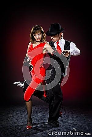 Elegance tango dancers