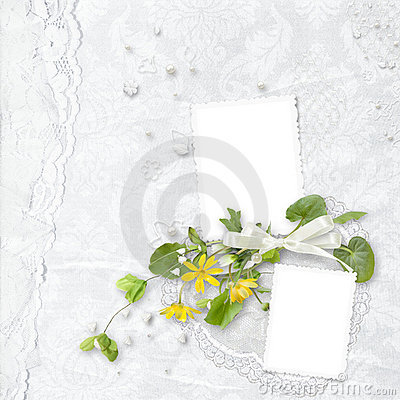 Elegance white frame with yellow flowers