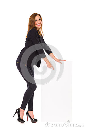 Elegance woman pointing at blank banner.