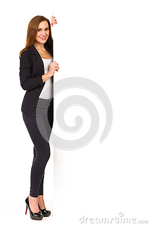 Elegance woman stands with blank banner.