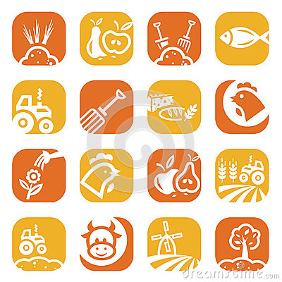 Color agriculture and farming icons