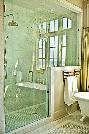 Free Elegant Bathroom With Glass Shower Royalty Free Stock Image - 10207476