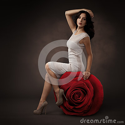 Elegant Beautiful Woman And Big Red Rose