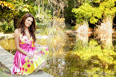 Elegant beautiful woman with colorful dress