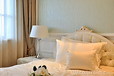 Elegant bedroom interior decoration in white