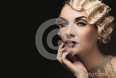 Elegant blond retro woman