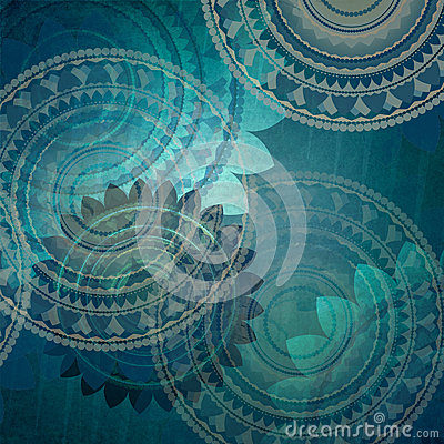 Elegant blue background design with fancy seal flower shapes in abstract random pattern Stock Photo