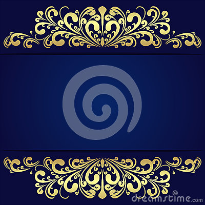 Free Elegant Blue Background With Floral Golden Borders. Royalty Free Stock Image - 49222986