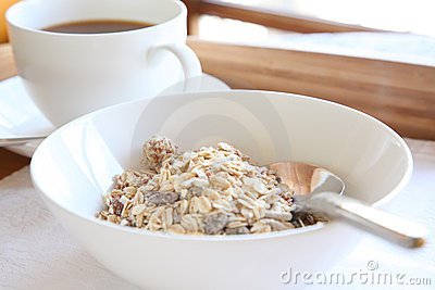 Elegant breakfast tray cereal