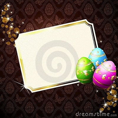 Elegant brown background with decorated Eastereggs
