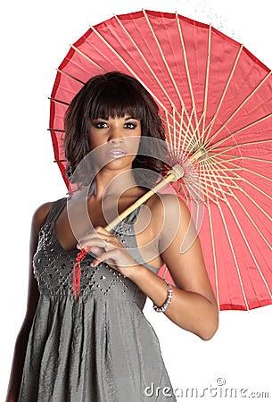 Free Elegant Brunette Holding Umbrella Stock Image - 13681241