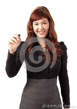 Elegant business woman writing with a black pen
