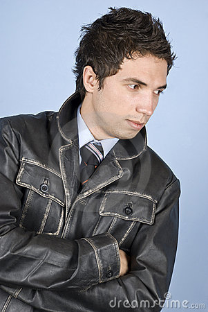 Elegant businessman in leather jacket