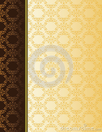 Elegant card with seamless damask wallpaper