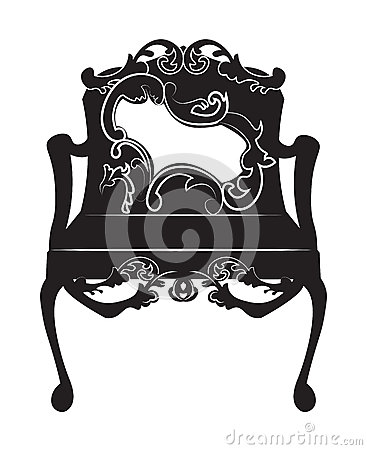 Elegant chair with rich ornaments Vector Illustration