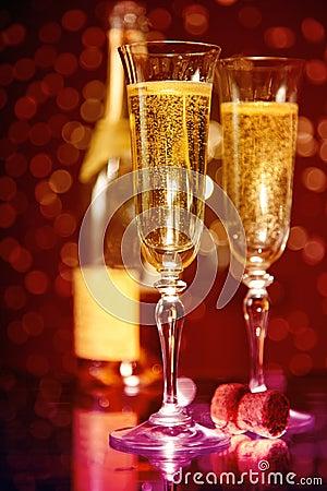 Free Elegant Champagne Glasses And Bottle Stock Photos - 17003363