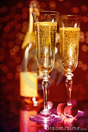 Elegant Champagne Glasses And Bottle Stock Photos Image