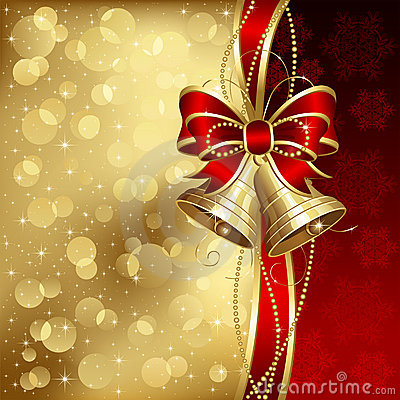 Free Elegant Christmas Background With Golden Bells Stock Photos - 21952513