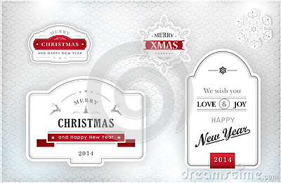 Elegant Christmas labels, emblems