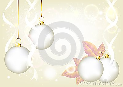 Elegant Christmas silver background with baubles