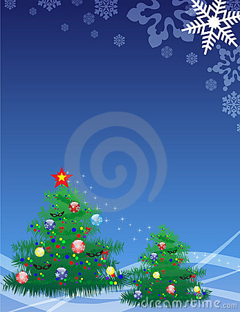 Elegant christmas tree on blue background