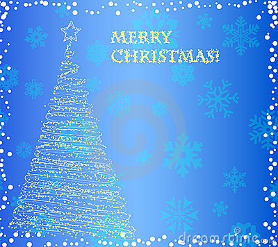 Elegant christmas tree on the blue background