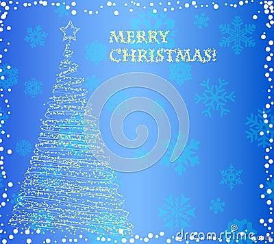 Elegant christmas tree on the blue background