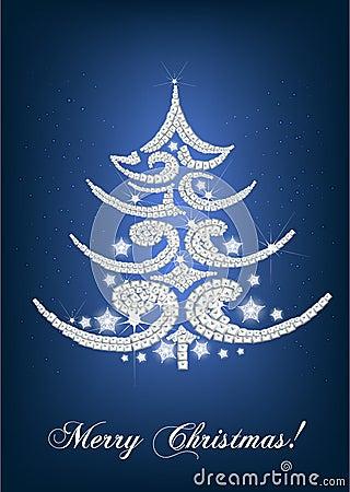 Elegant christmas tree card on blue