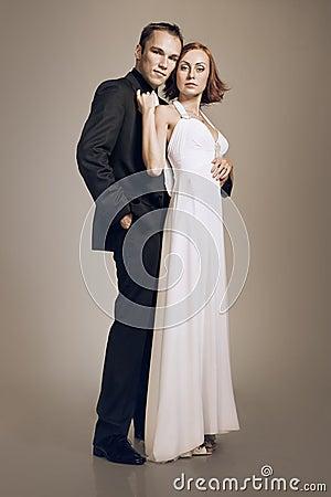 Elegant couple in love embracing