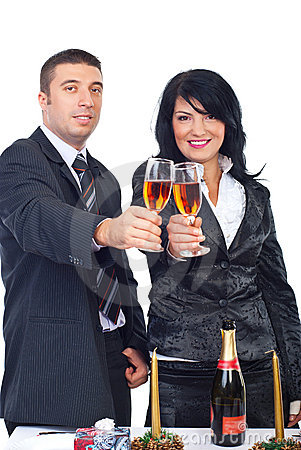 Elegant couple toasting and celebrate Christmas