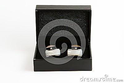 Elegant cufflinks in a box