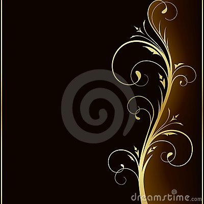 Elegant dark background with golden floral design