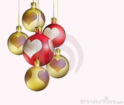 Elegant decorative, isolated christmas baubles.