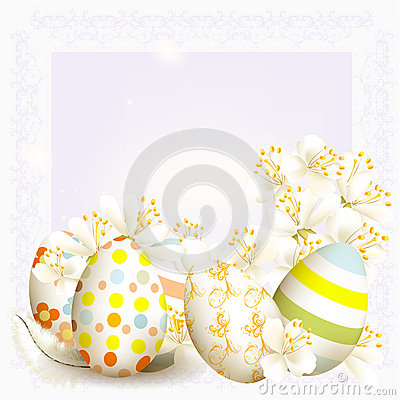 Free Elegant Easter Greeting Card In Light Blue Color With Space For Stock Photos - 30054583
