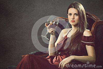 Elegant fashion woman with wineglass