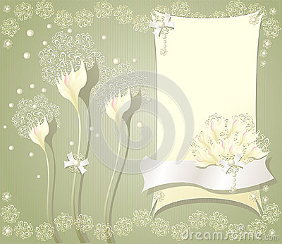 Elegant floral background with frame flowers bows