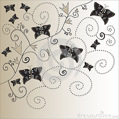 Elegant floral vintage background with butterflies