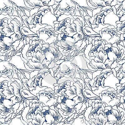 Elegant flower seamless background. Blue set. Hand drawn vector Vector Illustration