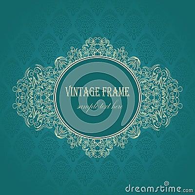 Elegant frame on a blue background