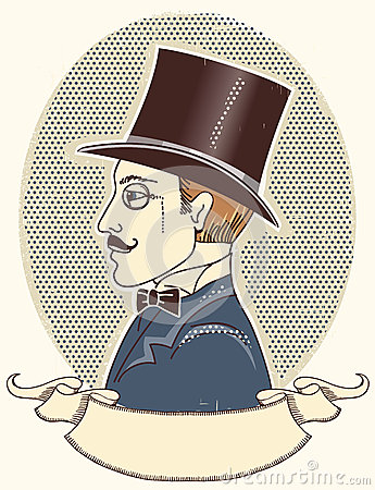 Elegant gentleman in a top black hat.Vector vintag