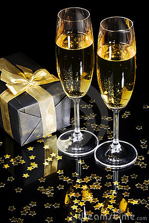 Elegant gift box and champagne flutes