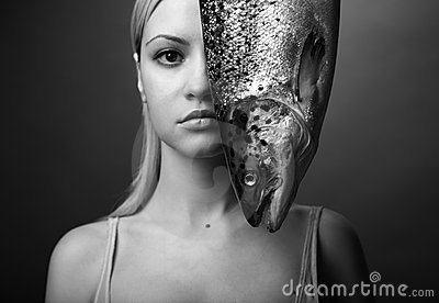 Elegant girl with big fish
